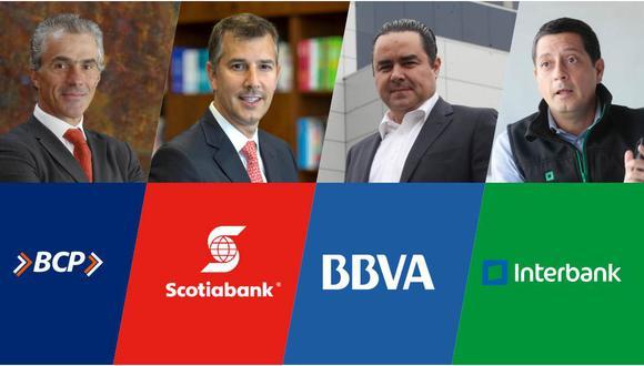 Perspectivas. De izquierda a derecha: Gianfranco Ferrari (BCP) , Miguel Uccelli (Scotiabank), Fernando Eguiluz (BBVA) y Luis Felipe Castellanos (Interbank). (Composición El Comercio)
