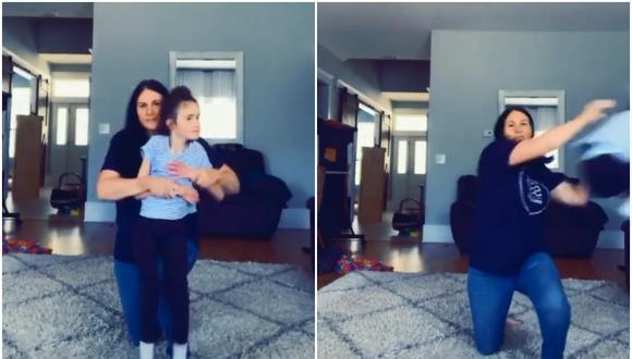 La pequeña Kim, de 14 años, fue arrojada por su padre para un video de TikTok. El clip se volvió viral, aunque no por las razones deseadas. (Foto: TikTok/whitakerquarantine)