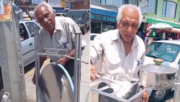 El abuelito don Maximino ganó fama en las redes sociales tras su notable invento. | Foto/Video: @GcluandaDzhoara