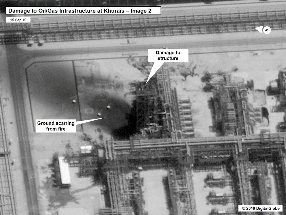 Otra de las fotografías difundidas por el gobierno estadounidense del supuesto daño en las instalaciones de Aramco. (Reuters).