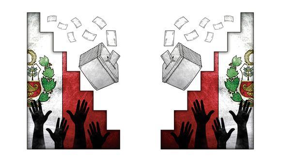 """""""La encuesta Barómetro de las Américas muestra que solo el 57,7% de los latinoamericanos apoya la democracia, en comparación con el 67,6% del 2004"""".  (Ilustración: Rolando Pinillos romero)"""
