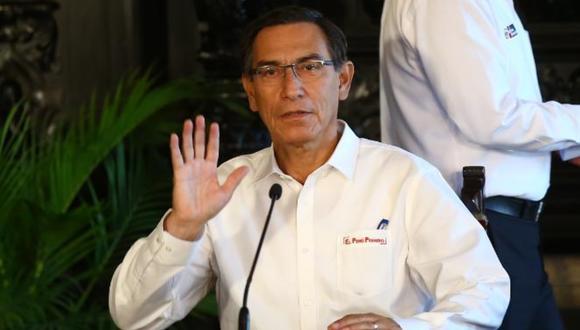 El presidente Martín Vizcarra ofrece una conferencia de prensa, el sábado 21 de marzo del 2020.