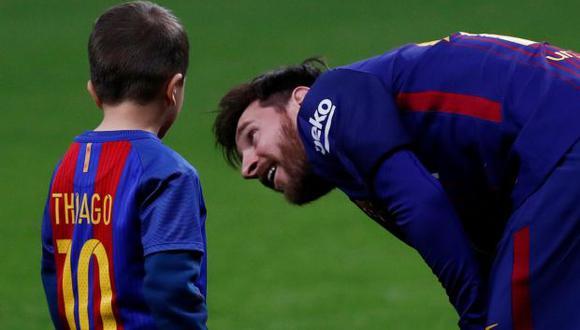 Leo Messi y su hijo Thiago. (Foto: Reuters)