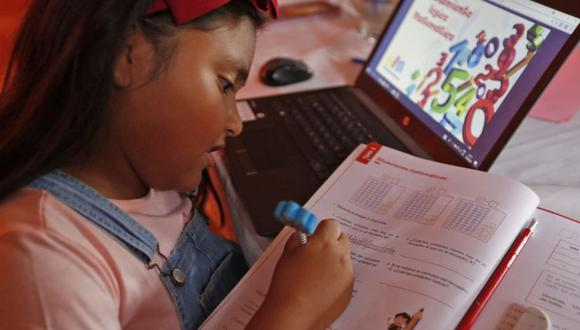 Los niños estudiaron arduamente el 2020 a través de las clases virtuales   Foto: Minedu