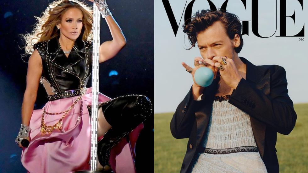 En el listado, aparecen los estilismos de Jennifer López, Harry Styles, Noah Cyrus, entre otros. (Fotos: IG @jlo / @harrysytles)