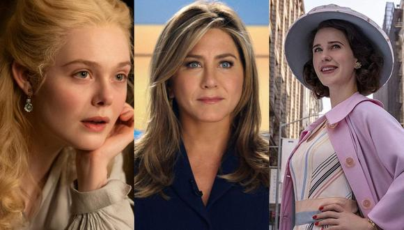 Elle Fanning, Jennifer Aniston y Rachel Brosnahan son las figuras centrales de algunas de estas series que puedes ver ahora mismo (Foto: Hulu / Apple TV+ / Amazon Prime Video)