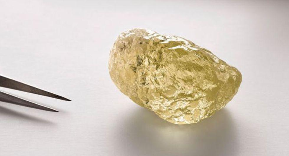 El diamante amarillo de 552 quilates fue encontrado en Canadá. Foto: COURTESY DOMINION DIAMOND MINES, vía BBC MUNDO
