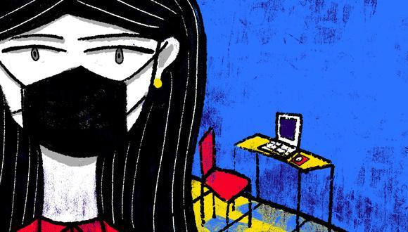 19% de mujeres dijo tener menos tiempo libre. En la situación de distanciamiento social obligatorio, más mujeres que hombres han sentido tener menos tiempo libre, según encuesta del Ministerio de la Mujer. (Ilustración: Giovanni Tazza/El Comercio)