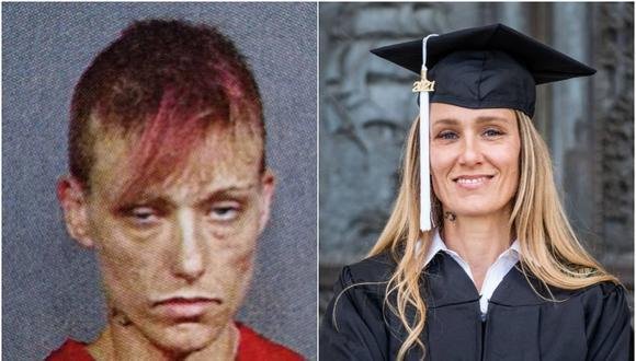 Mujer compartió su antes y después tras lidiar con adicción a las drogas. (Foto: Ginny Burton / Facebook)