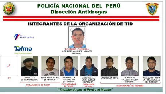 Presentan banda que traficaba droga desde el Jorge Chávez