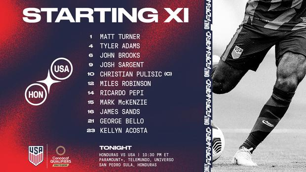 The United States line up to duel against Honduras    Photo: USMNT