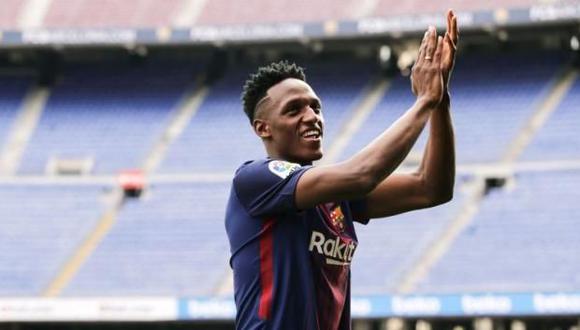 El central de la selección colombina, Yerry Mina, está dispuesto a luchar por un puesto en el Barcelona. (Foto: AFP).