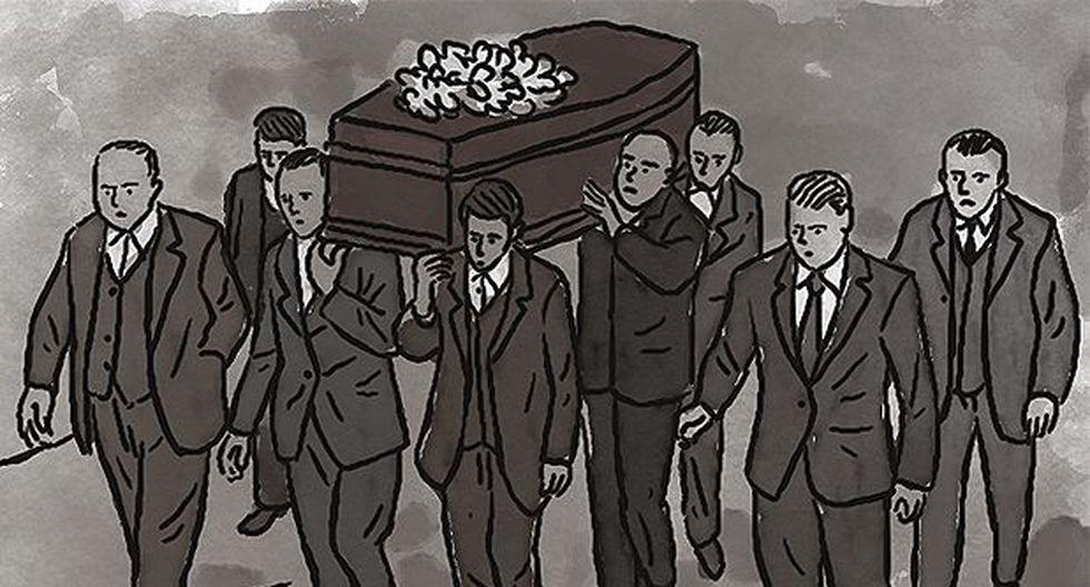 """""""El ataúd fue llevado en hombros hasta el cementerio por la juventud ayacuchana."""""""