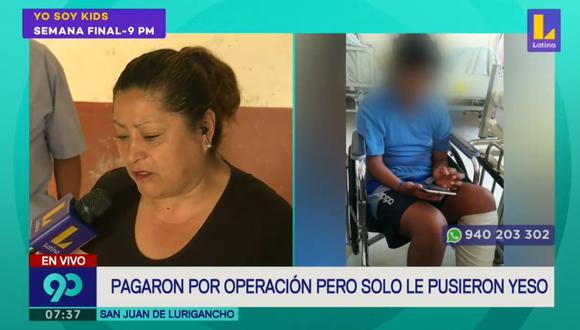 Flor Escobedo, madre de un menor de 11 de años, denuncia que su hijo permanece internado en el Hospital del Niño Breña desde el pasado 14 de febrero. (Foto captura: Latina)