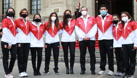 Deportistas olímpicos peruanos en Palacio de Gobierno antes de viajar a los Juegos Olímpicos de Tokio. (Foto: IPD / Presidencia del Perú)