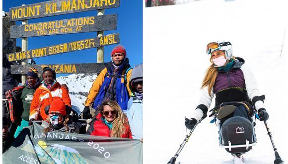 Marcela Marañón durante su cima al Kilimanjaro y práctica de esquí. (Foto: Instagram   thejourneyofabravewoman)