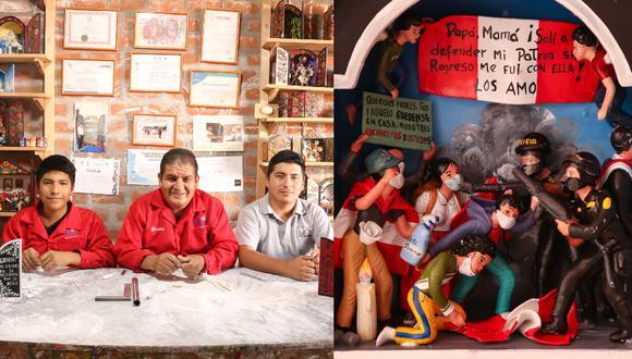 Silvestre Ataucusi (medio) es un maestro retablista fundador de la Casa del Retablo. Sus hijos Johan (izq.) y Jhon (der.) participan del proyecto. Sus últimos trabajos tienen que ver con las manifestaciones lideradas por jóvenes y la violenta represión policial. (Fotos: Casa del Retablo)