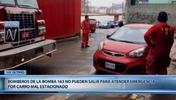 Bomberos no pueden atender emergencia por auto mal estacionado, en San Martín de Porres. (Video: Canal N)