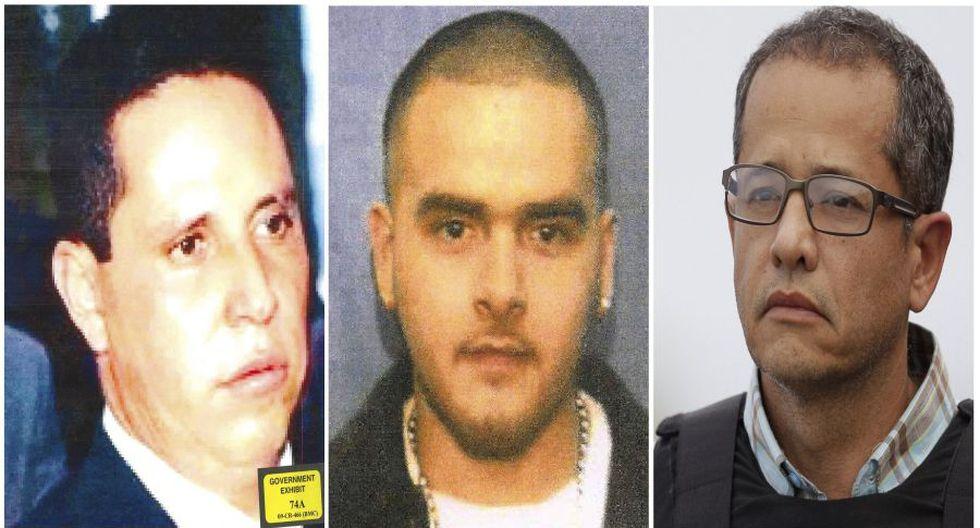 De izquierda a derecha, Tirso Matínez Sánchez, Pedro Flores y Jorge Cifuentes, testigos en el juicio contra 'El Chapo' Guzmán. (AP).