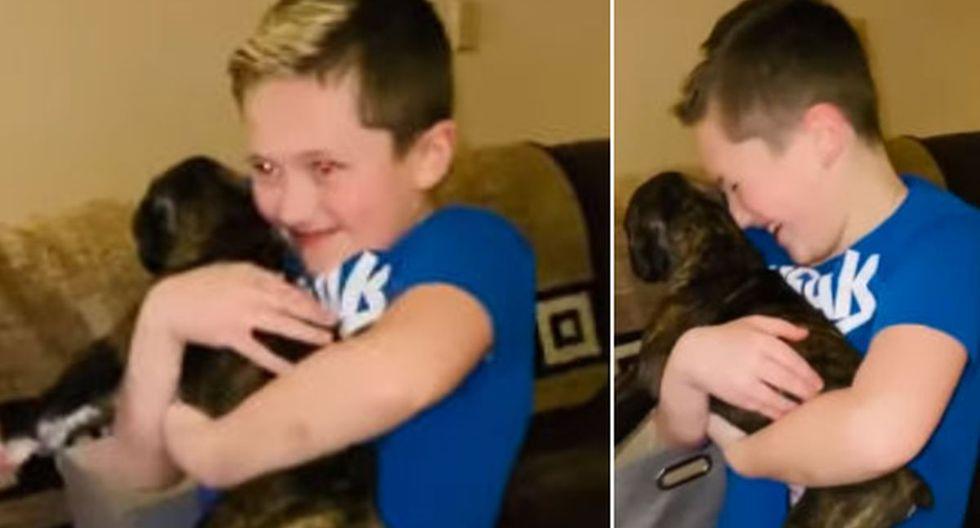El pequeño no pudo contener la emoción de saber que tenía un nuevo amigo. (YouTube: ViralHog)