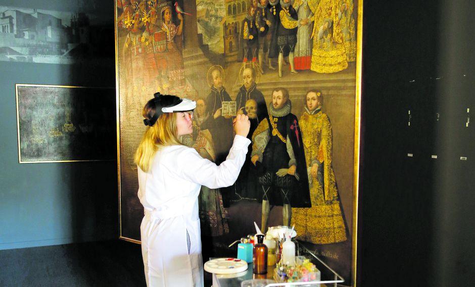 Trabajos de limpieza del equipo de restauración liderado por Gemma Ballesteros, antes del viaje a Madrid. Obra se expondrá en el Museo del Prado del 19 de febrero al 21 de abril (Foto: Difusión)