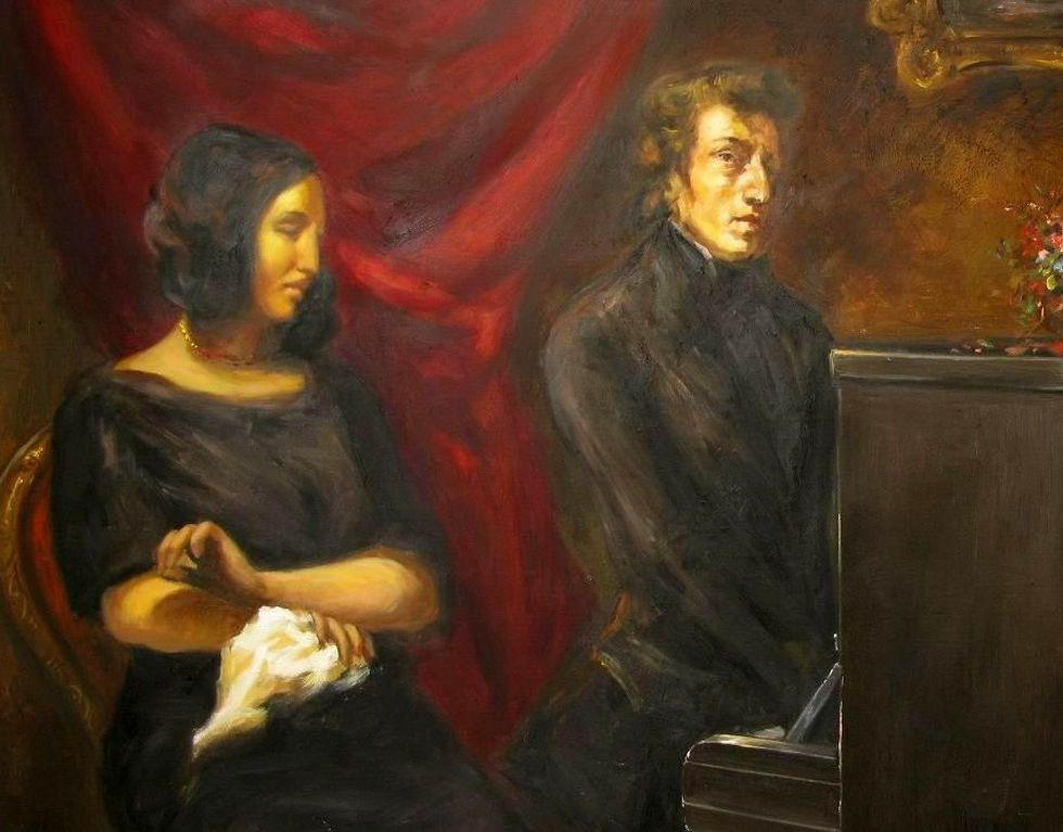 Chopin tenía apenas 39 años cuando murió y pasó la última década de su vida enfermo de tuberculosis crónica. En la imagen, junto a George Sand, su amante por años, en una pintura de Eugène Delacroix. (Foto: Dominio Público)