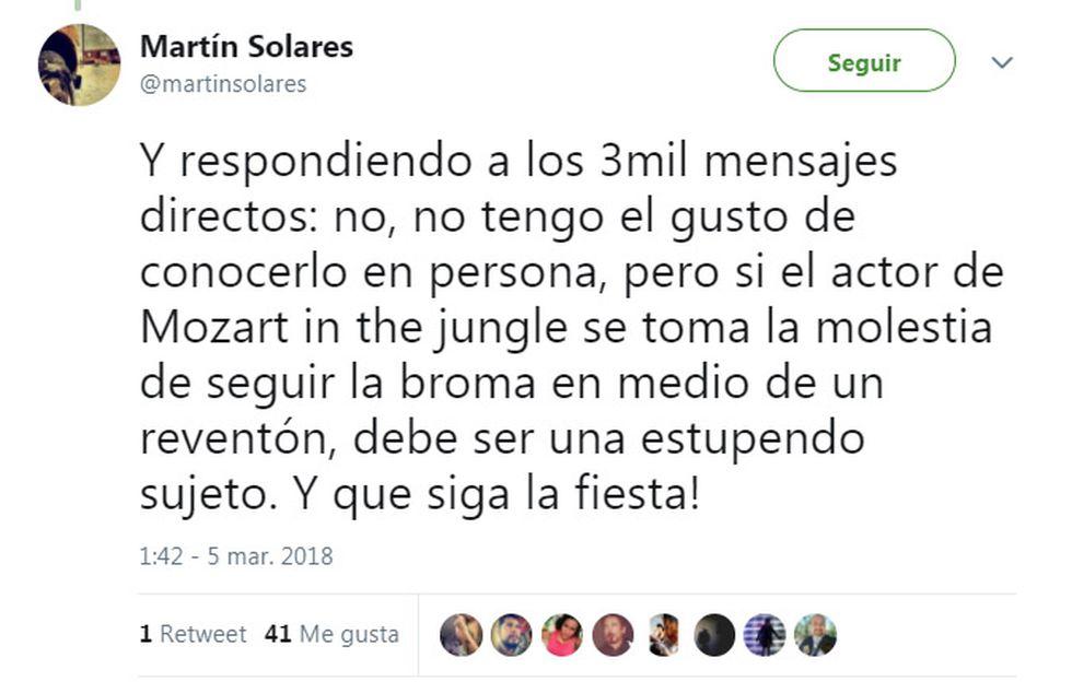 Mensaje sobre Gael García Bernal. (Fuente: Twitter)