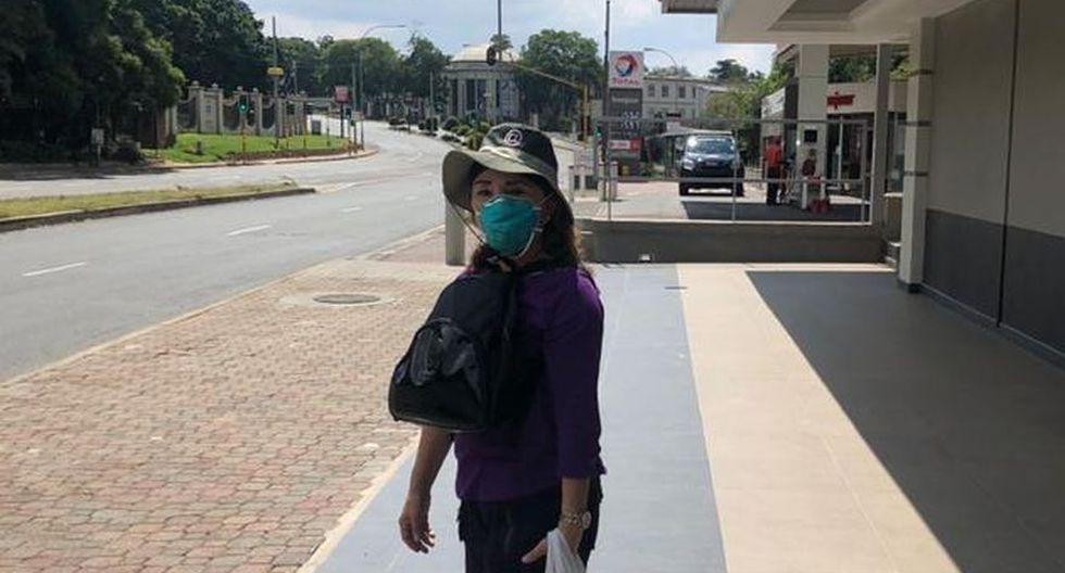 El confinamiento en Johannesburgo rige desde el 27 de marzo. Ofelia Pinto, enfermera peruana varada en Sudáfrica, solo sale a comprar alimentos. (Foto: Ofelia Pinto / Cortesía para El Comercio)