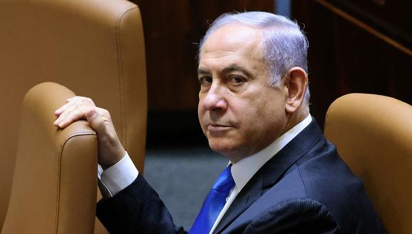 Benjamin Netanyahu asiste a una sesión especial del Parlamento de Israel el 13 de junio de 2021. (Foto de EMMANUEL DUNAND / AFP).