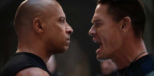 """Vin Diesel alongside John Cena, who plays Jakob Toretto in """"Fast and furious 9"""".  Photo: UIP."""