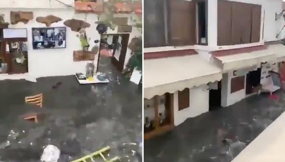 Así avanzó el agua, en un pequeño tsunami, tras el terremoto que se sintió en Turquía y Grecia. (Foto: captura de video en Twitter)