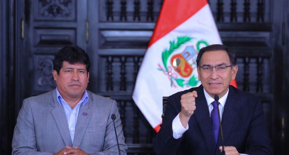 A finales de junio del 2018, Mardonio Guillen, entonces alcalde de San Juan Bautista (Ayacucho) participó en una conferencia de prensa en Palacio de Gobierno tras denunciar que un funcionario le pidió una coima (Foto: Presidencia)
