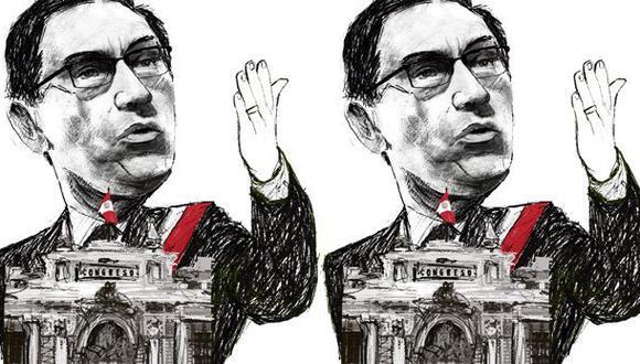 Martín Vizcarra y el Congreso. (Ilustración: Giovanni Tazza)