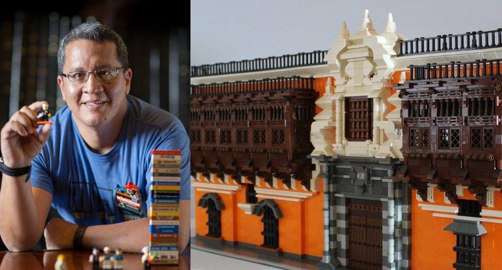 Aldrin Aguilar (50) es un constructor nato. Al lado, una de sus primeras construcciones: el palacio de Torre, allá por el 2014. (Foto: Richard Hirano / Archivo Aldrin Aguilar)