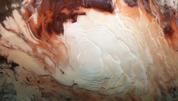 Los supuestos cuerpos de agua líquida fueron descubiertos bajo el casquete polar sur de Marte. (Imagen: ESA/DLR/FU BERLIN/BILL DUNFORD)