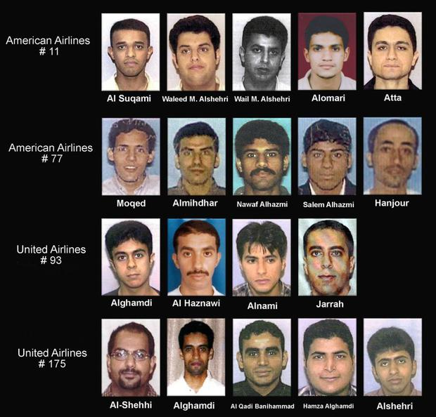 The 19 terrorists who carried out the attacks.