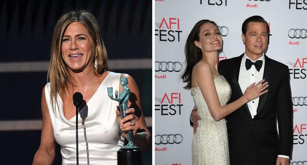 La actriz Angelina Jolie no parece estar de acuerdo con la amistad de Brad Pitt y jennifer Aniston.(AFP).