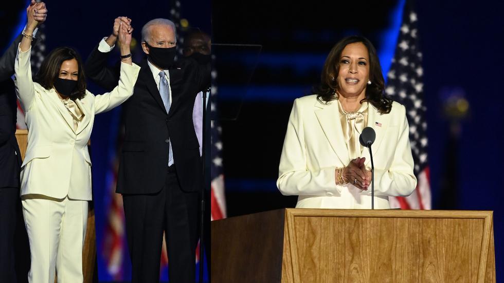 Recorre la galería y descubre los detalles del primer look oficial de Kamala Harris, como vicepresidenta de Estados Unidos. (Foto: AFP)