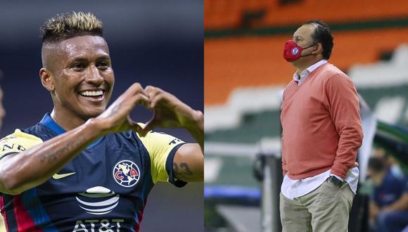 Pedro Aquino jugó su primer partido como profesional en Sporting Cristal con Juan Reynoso en el banco el 2011. Hoy luchan por ganar el Clausura 2021 de la Liga MX. (Foto: @clubamerica / AFP)