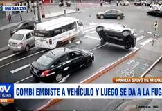 Cercado de Lima: vehículo sufre volcadura tras ser impactado por combi a gran velocidad