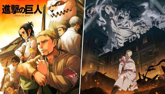 """Izquierda: Reiner y los nuevos personajes de la temporada final de """"Attack on Titan. Derecha: Arte principal de los nuevos episodios. Fotos: Shogakukan/ Mappa."""