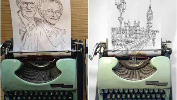 El joven utiliza cinco máquinas de escribir distintas, siendo la más antigua de ellas de 1955 y la más nueva de 1991. (Foto: Instagram/jamescookartwork)