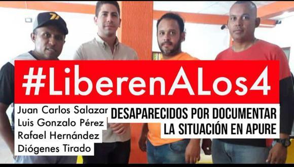 """El canal NTN24 explicó que los periodistas Luis Gonzalo Pérez y Rafael Hernández """"cubrían el conflicto en Apure"""" cuando """"fueron retenidos"""", junto a dos activistas de Fundaredes. (Foto: @sntpvenezuela)."""