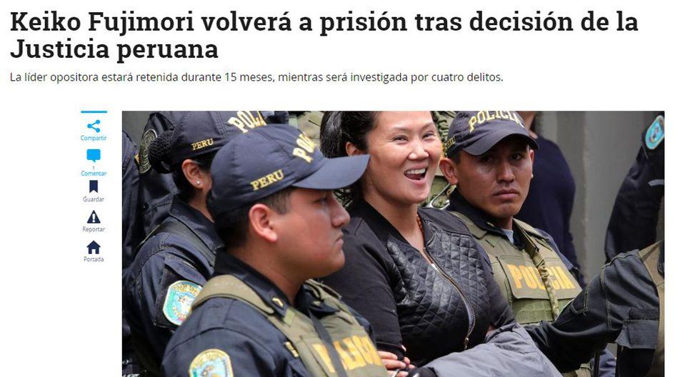 """Así informó El Tiempo. """"Keiko Fujimori volverá a prisión tras decisión de la justicia peruana"""". (Foto: Captura)"""