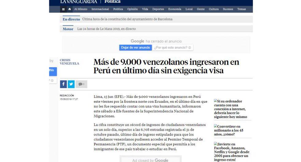Así informa el medio español La Vanguardia sobre la exigencia de visa y pasaporte a los venezolanos en el Perú. (Captura)