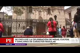 Iglesias y lugares de culto abrirán sus puertas desde el 2 de noviembre