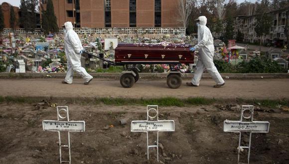 El sepulturero Fernando Quezada (derecha), de 27 años, y un compañero de trabajo llevan un ataúd en el Cementerio General de Santiago, el 5 de agosto de 2020, en medio de la pandemia del nuevo coronavirus COVID-19. (Foto de Claudio REYES / AFP).
