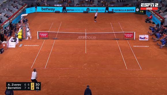 ESPN transmite en vivo un partido de tenis cuando la programación indicaba que sería el Real Madrid vs. Sevilla | Foto: captura ESPN