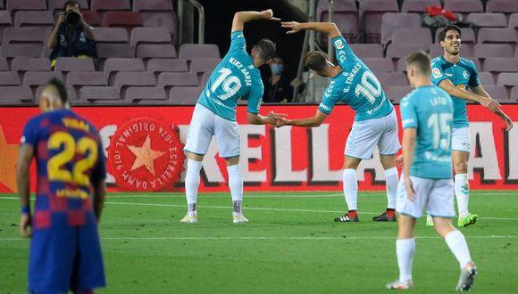Osasuna sorprendió con su victoria en el último minuto en cancha del Barcelona. (Foto: AFP)