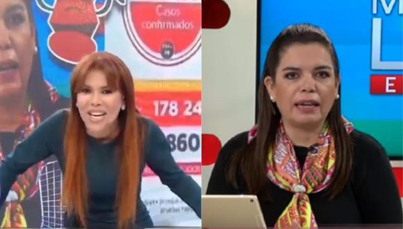 Milagros Leiva es blanco de críticas tras cometer error al leer cifras de contagiados por coronavirus y Magaly Medina se burla. (Foto: Captura ATV/Willax TV)